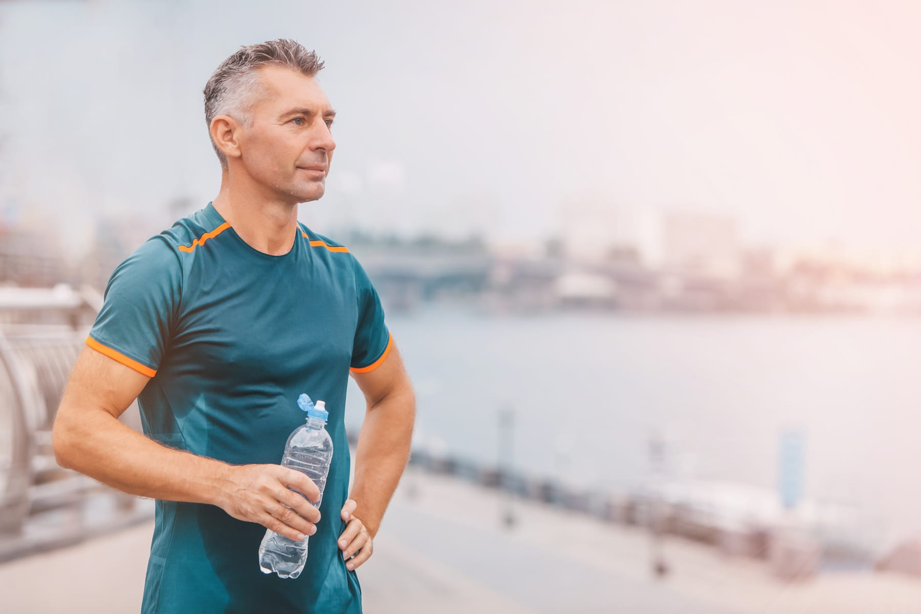 Portrait of healthy athletic middle aged man