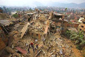 Picture of the aftermath of an earthquake in Kathmandu, Nepal