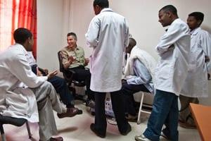 Ethiopian eye care doctors speaking with the MEC team