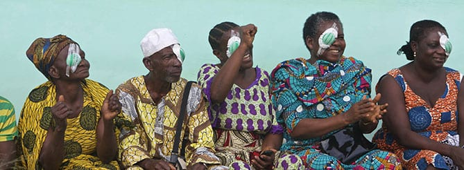Group of Ghana patients recovering from eye treatment
