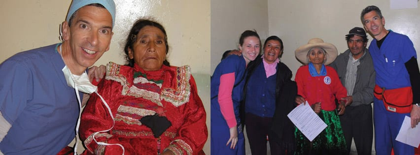 Picture of Medical Eye Center experts with patients from volunteering in Peru